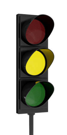 semaphore: 3d rendering traffic light on white background