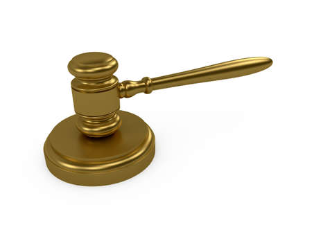 3d render of gold judge gavel on white background photo