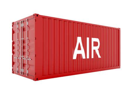 seafreight: render 3D de contenedor de carga rojo con texto de aire Foto de archivo