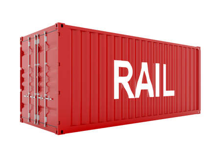 cargo train: 3d render of red cargo container with water text Stock Photo