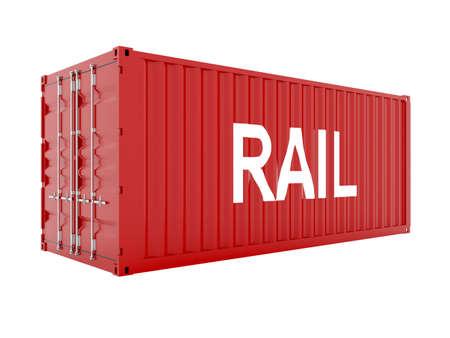 seafreight: render 3D de contenedor de carga rojo con texto de agua