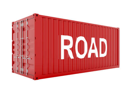 seafreight: render 3D de contenedor de carga rojo con texto de carretera Foto de archivo