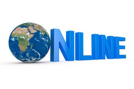 3d render of online Illustration with Globe on white background Stock Illustration - 8684780