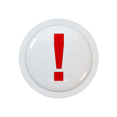 3d render of a red button with a exclamation point photo