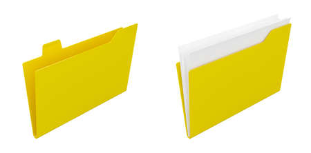 3d render of computer yellow folders on white background photo