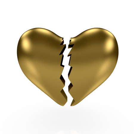 3d render of gold broken heart om white background Stock Photo - 8684787