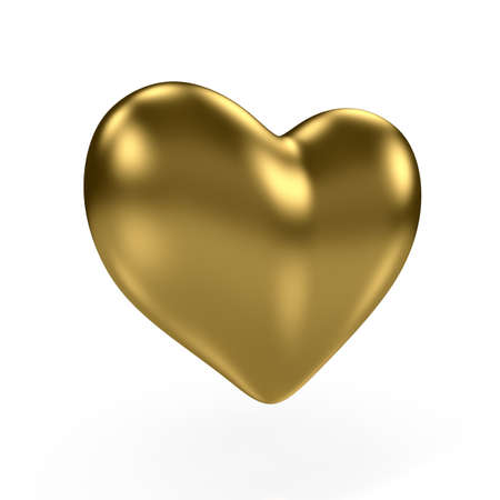 3d render of gold heart on white background photo