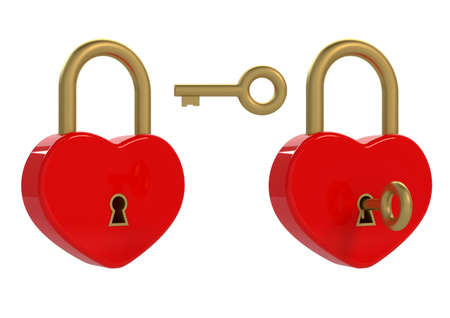 jealousy: 3d render of heart padlock and key on white background