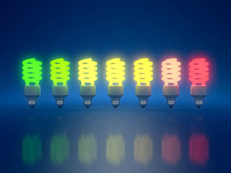 norm: 3d render of color light bulbs on blue background  Stock Photo