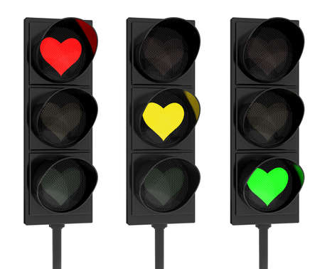 the romanticism: 3d render of heart traffic lights on white background Stock Photo