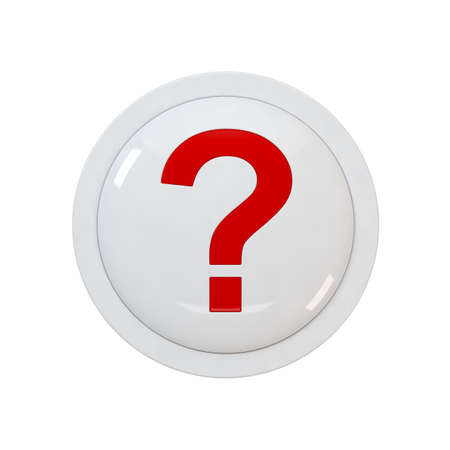 3d render of a red button with a question point photo
