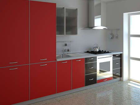 3d render interior of a modern red kitchen Stock Photo - 8684790