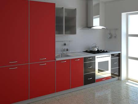 3d render interior of a modern red kitchen  photo