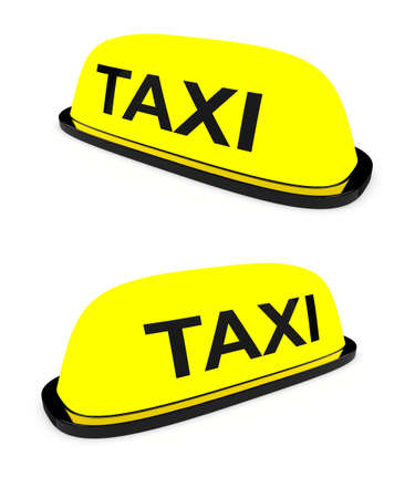 3d render of taxi cab sign in different angles on white background Stock Photo - 8684733