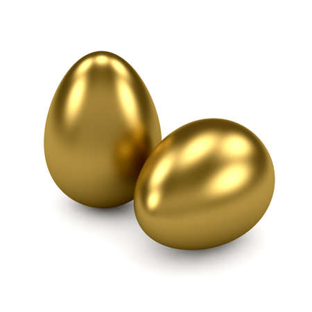 currency glitter: 3d render of gold eggs on white background