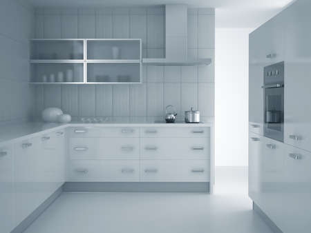 3d render of modern grey blue kitchen