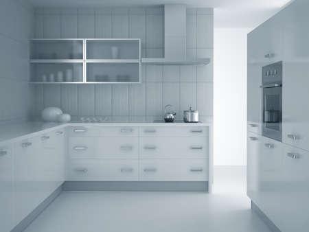 3d render of modern grey blue kitchen photo
