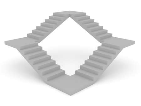 ascent: 3d render of stairs concept on white background