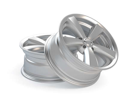 3d render car alloy wheel, isolated over white background  photo