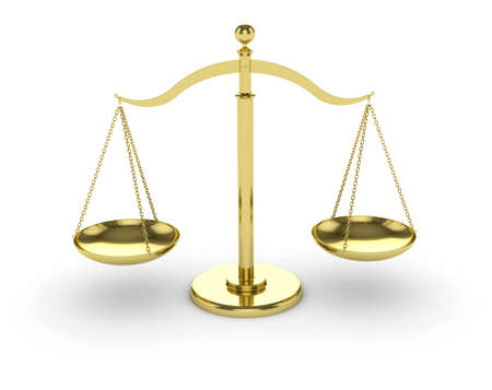 either: 3d render of gold scales on white background Stock Photo