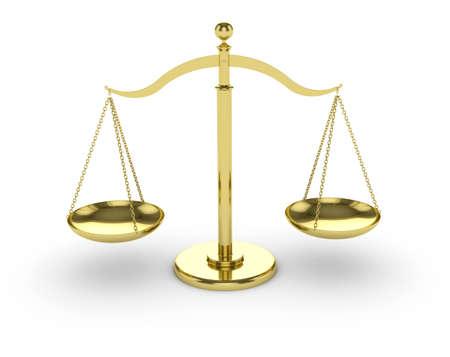 trial balance: render 3D de escalas de oro sobre fondo blanco
