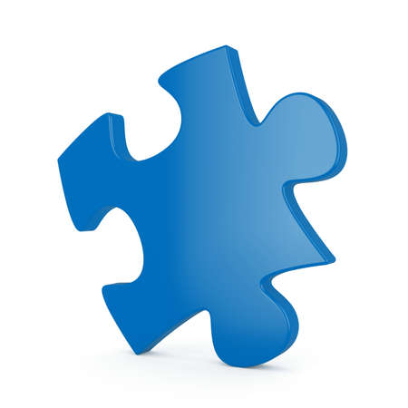 3d render of blue single puzzle on white background photo