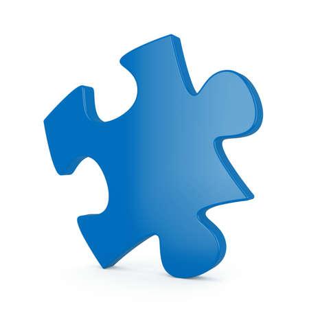 entreprise puzzle: rendu 3D de puzzle unique bleu sur fond blanc
