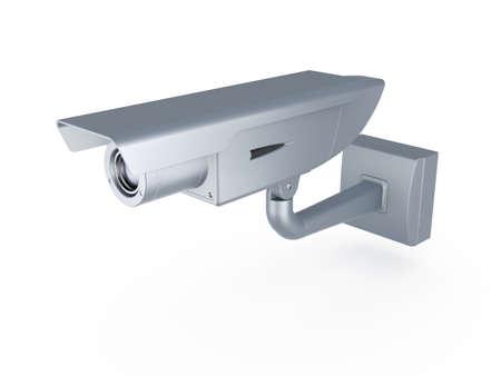 alarme securite: rendu 3D de la cam�ra de s�curit� sur fond blanc