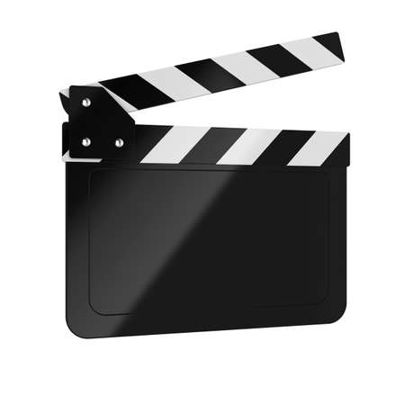 clapper: 3d render of movie clapper board on white background