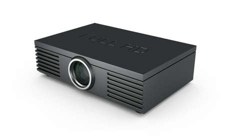 3d render of Full HD projector on white background