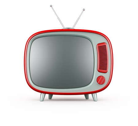 television screen: 3d render of red retro TV on white background