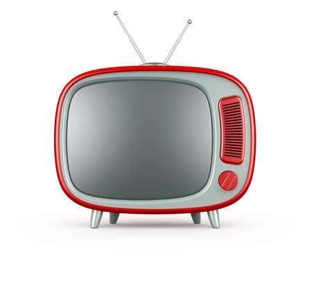 render 3D de TV retro rojo sobre fondo blanco