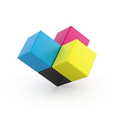 3d render of CMYK cubes on white background Stock Photo - 9091921