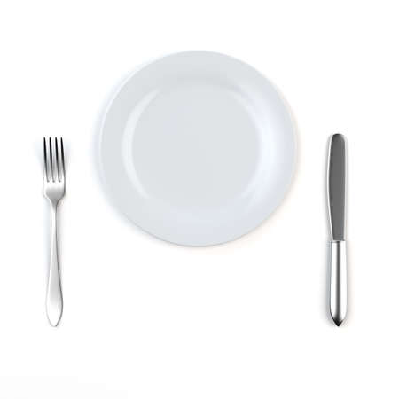 plate setting: 3d render of knife, white plate and fork  Stock Photo