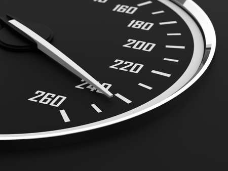 3d render of speedometer with moving arrow and high speed