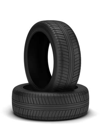 High resolution 3d render of new tyres isolated on white photo