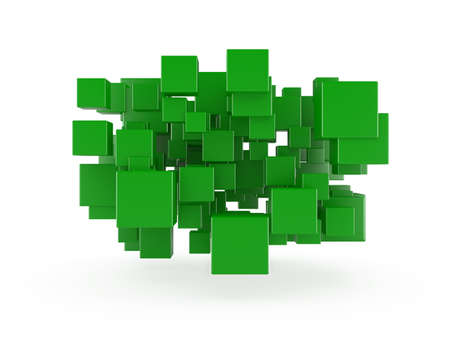 perspective grid: 3d render of green cubes isolated on white background