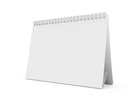 note pc: 3d render of isolated blank white calendar