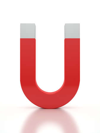 work force: 3d render of a horseshoe magnet over a white background