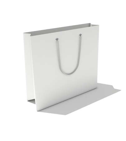 3d render of isolated white paper bag  photo