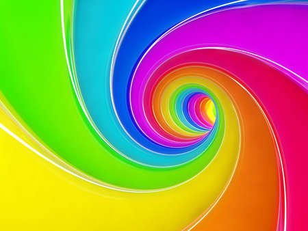 3d render of rainbow colorful spiral background photo
