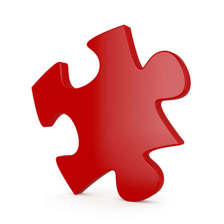 red puzzle piece: 3d illustration of red single puzzle on white background