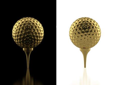 golden ball: 3d illustration of gold golf ball