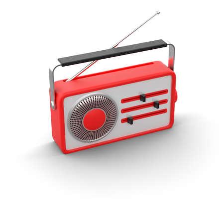 3d illustration of retro red radio illustration