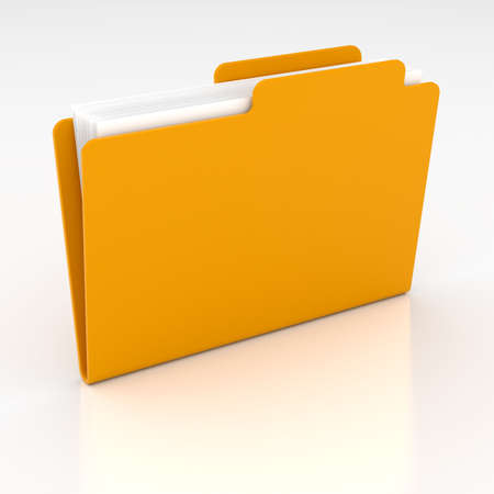 3d render of computer yellow folder on white background Stock Photo - 9714526