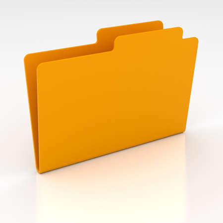 3d render of computer yellow folder on white background photo