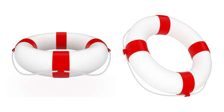 3d render of red and white life belt isolated on white background photo