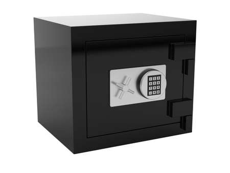 3d render of black metal safe box on white Stock Photo - 9714527