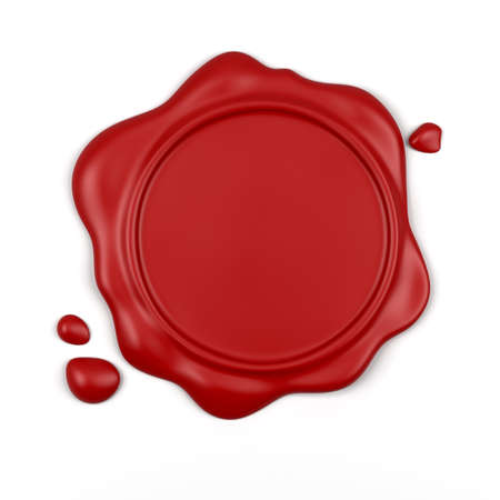 wax stamp: 3d render of high resolution red wax seal with drops isolated over white background  Stock Photo
