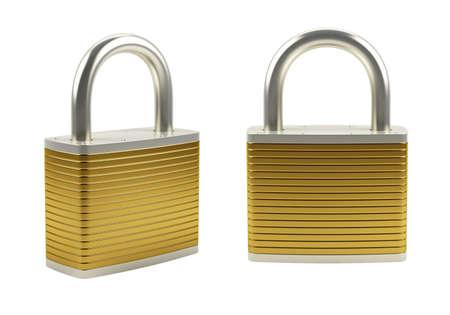 3d illustration of gold padlock isolated on white Stock Illustration - 9849600